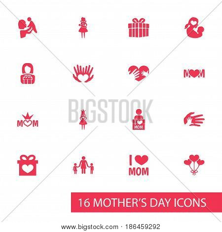 Mothers Day Icon Design Concept. Set Of 16 Such Elements As Mom, People And Missus. Beautiful Symbols For Mom, Children And Decoration.