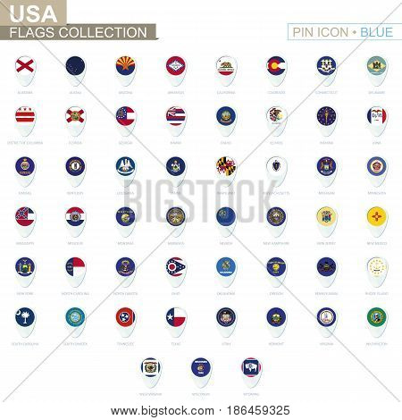 Usa State Flags Collection. Big Set Of Blue Pin Icon With Flags.