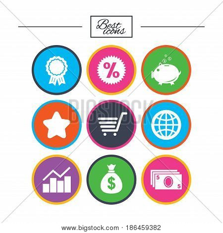 Online shopping, e-commerce and business icons. Piggy bank, award and star signs. Cash money, discount and statistics symbols. Classic simple flat icons. Vector