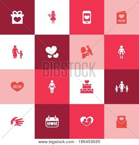 Mothers Day Icon Design Concept. Set Of 16 Such Elements As Madame, Pastry And Text. Beautiful Symbols For Flower, Soul And Pregnancy.