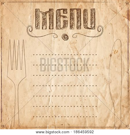 Menu Of Restaurant On The Old Paper Background
