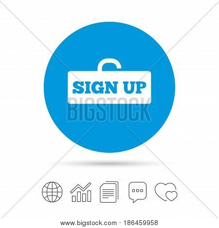 Sign up sign icon. Registration symbol. Lock icon. Copy files, chat speech bubble and chart web icons. Vector