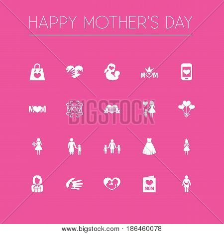 Mothers Day Icon Design Concept. Set Of 20 Such Elements As Pregnancy, Infant And Madame. Beautiful Symbols For Screen, Son And Newborn.