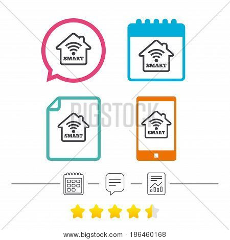 Smart home sign icon. Smart house button. Remote control. Calendar, chat speech bubble and report linear icons. Star vote ranking. Vector