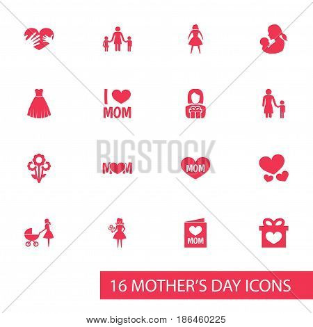 Mothers Day Icon Design Concept. Set Of 16 Such Elements As Flowers, Madame And Baby. Beautiful Symbols For Hand, Child And Gift.