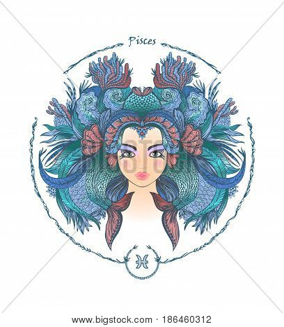 Zodiac sign. Hand drawn portrait of a beautiful woman. Vector illustration of Pisces zodiac sign.