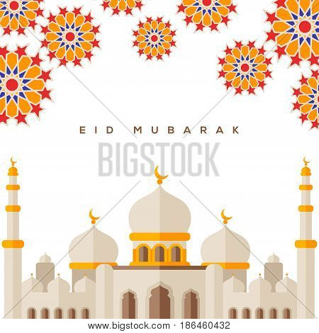 Muslim mosque on white background with traditional geometric elements. Vector Illustration. Eid Mubarak greetings. Stylized flat style Sheikh Zayed Grand Mosque. Ramadan Kareem