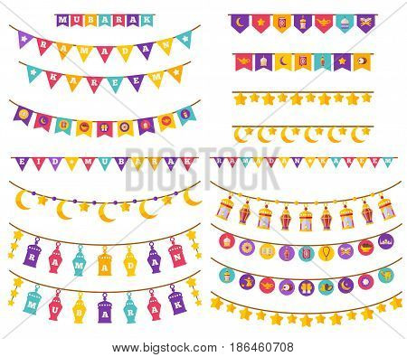 Ramadan Kareem Decorations Set in Flat Style Isolated on White. Vector Illustration. Flag Garland with Religious Holiday Icons. Eid Mubarak. Traditional Lanterns lamps, Crescent and stars