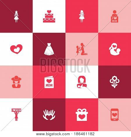 Mothers Day Icon Design Concept. Set Of 16 Such Elements As Shape, Daughter And Evening Gown. Beautiful Symbols For Princess, Smartphone And Lady.
