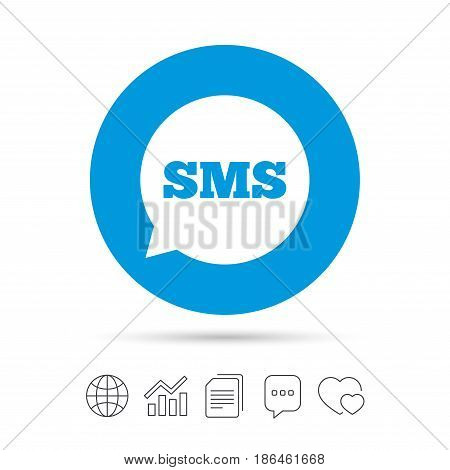 SMS speech bubble icon. Information message symbol. Copy files, chat speech bubble and chart web icons. Vector
