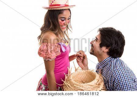Brazilian couple dancing on Junina Party costume