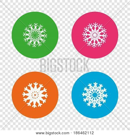 Snowflakes artistic icons. Air conditioning signs. Christmas and New year winter symbols. Frozen weather. Round buttons on transparent background. Vector