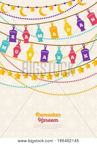 Ramadan Kareem concept banner with arabic decorations on bright background. Vector illustration. Eid Mubarak. Traditional Lanterns, Crescent and stars, Garlands with beads