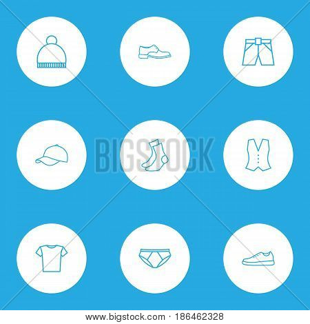Garment Outline Icons Set. Collection Of Briefs, Pompom, Waistcoat And Other Elements. Also Includes Symbols Such As Cap, Shoes, Ski.