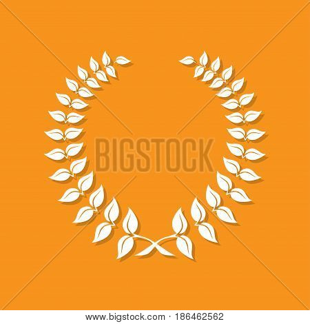 Laurel wreath icon with shadow in a flat design. Vector illustration
