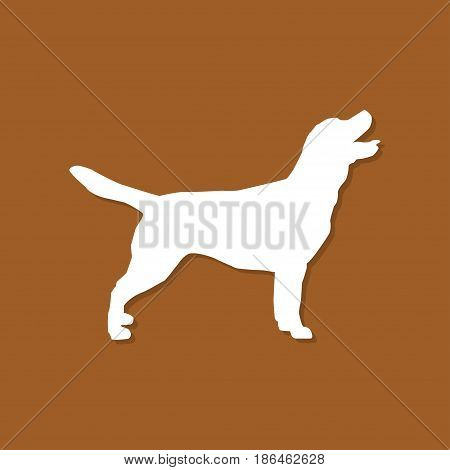 Dog icon with shadow in a flat design. Vector illustration