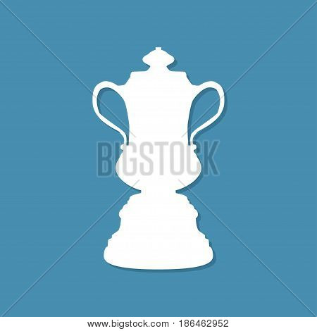 Trophy cup icon with shadow in a flat design. Vector illustration