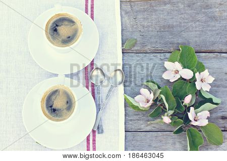 Espresso And Spring Flowers