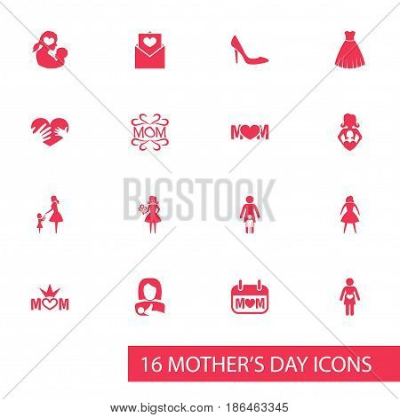 Mothers Day Icon Design Concept. Set Of 16 Such Elements As Lady, Female, Hands. Beautiful Symbols For Design, Day And Stiletto.