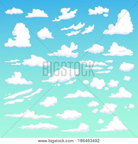 Set with clouds. Isolated art on blue background. Vector. Cartoon. Flat