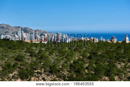 View to the Benidorm city. Benidorm is a modern resort city one of the most popular travel destinations in Spain. Costa Blanca Alicante province