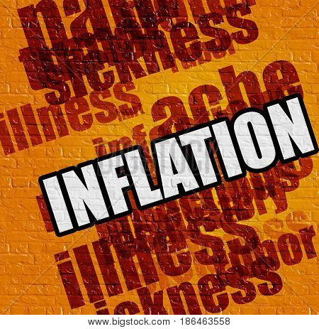 Healthcare concept: Inflation on the Yellow Wall . Inflation - on the Wall with Word Cloud Around .
