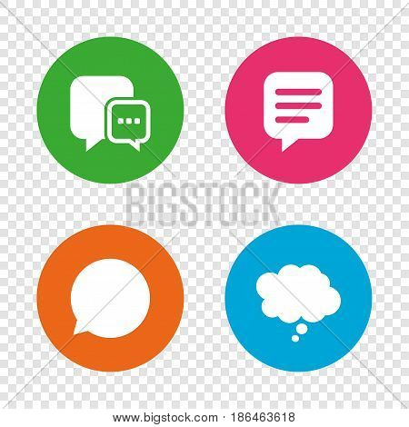 Chat icons. Comic speech bubble signs. Communication think symbol. Round buttons on transparent background. Vector