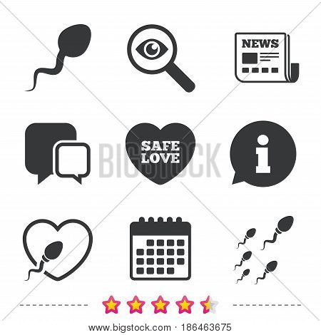Sperm icons. Fertilization or insemination signs. Safe love heart symbol. Newspaper, information and calendar icons. Investigate magnifier, chat symbol. Vector
