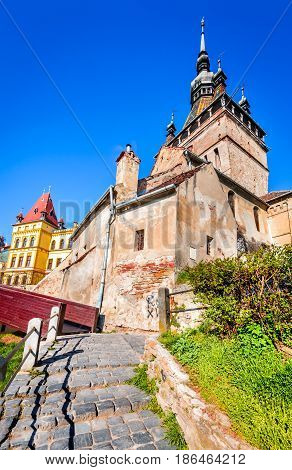 Sighisoara Romania. Medieval citadel located in the historic region of Transylvania built by Transylvanian Saxons.