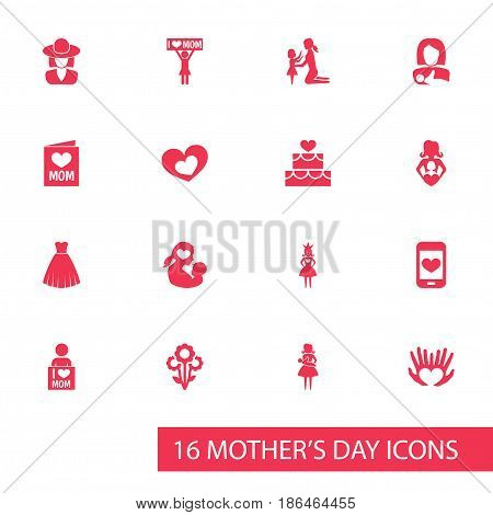 Mothers Day Icon Design Concept. Set Of 16 Such Elements As Protect, I Love Mom And Nanny. Beautiful Symbols For Headgear, Mother And Love.