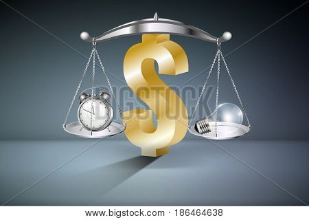 Business Keys and Success Concept : Balance scales on dollar symbol with alarm clock on arm left hand side and light bulb on arm right hand side. (3D Illustration)