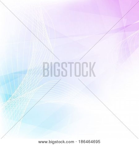 Modernistic minimalistic abstract bright geometrical background in blue and pink color with swoosh wave lines. Vector illustration