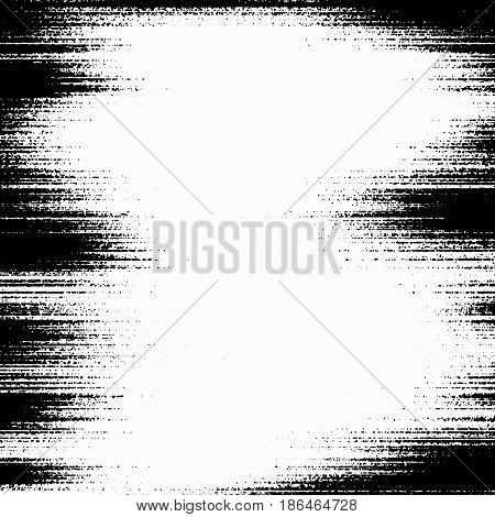 Modern abstract distressed grunge frame template. Black messy particle dust overlay background. Noise and grain effect. Vector illustration