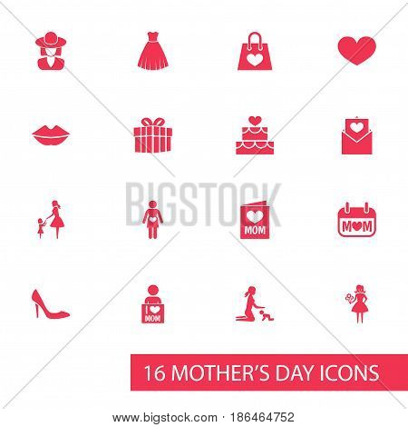 Mothers Day Icon Design Concept. Set Of 16 Such Elements As Mouth, Hat And Stiletto. Beautiful Symbols For Package, Shoes And Hat.