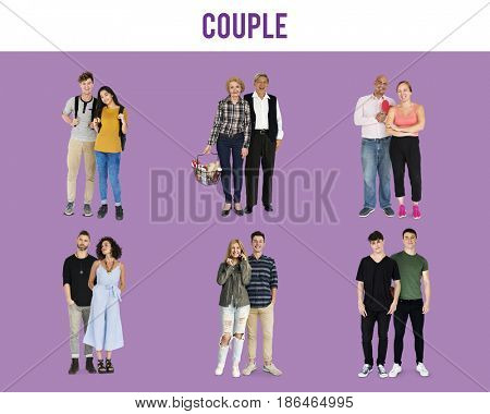 People Couple Lover Together Studio Isolated