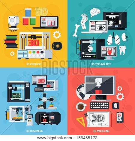 3D printing 2x2 design concept with designing modeling equipment consumables and production symbols flat vector illustration