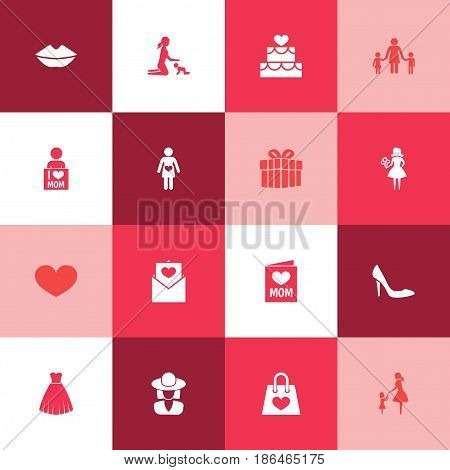 Mothers Day Icon Design Concept. Set Of 16 Such Elements As Woman, Invitation And I Love Mom. Beautiful Symbols For Card, Heart And I.