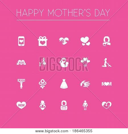 Mothers Day Icon Design Concept. Set Of 20 Such Elements As Present, Playing And Gift To Mother. Beautiful Symbols For Love, Plant And Ribbon.