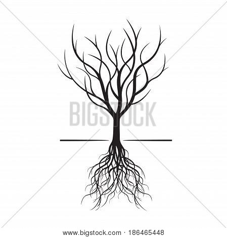 Black naked tree with roots. Vector Illustration.