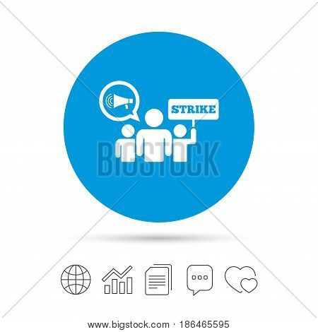 Strike sign icon. Group of people symbol. Industrial action. Holding protest banner and megaphone. Copy files, chat speech bubble and chart web icons. Vector
