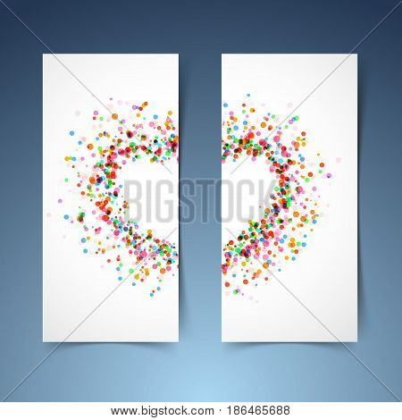 Colorful bright heart symbol headers set. Bright frame banners. Splatter paint decorative template. Vector illustration