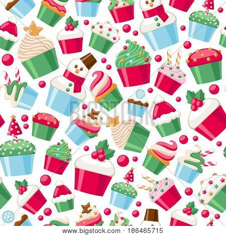 Colorful christmas cupcakes seamless pattern. Sweet holiday bakery. New Year seasonal background. Good for holidays greeting poster banner advertising design.