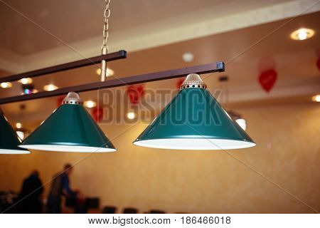 Billiard Lamps Above The Billiard Table Are Ready For The Game.