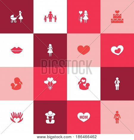 Mothers Day Icon Design Concept. Set Of 16 Such Elements As People, Baby And Missus. Beautiful Symbols For Soul, Woman And Kiss.