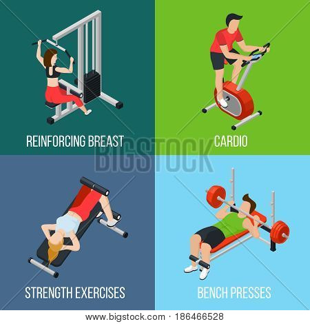 Four square gym people isolated icon set with reinforcing breast cardio strength exercises and bench presses descriptions vector illustration