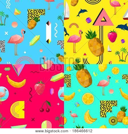 Decorative seamless polygonal patterns 4 squares composition with tropical fruits pink flamingo and dolphin abstract vector illustration