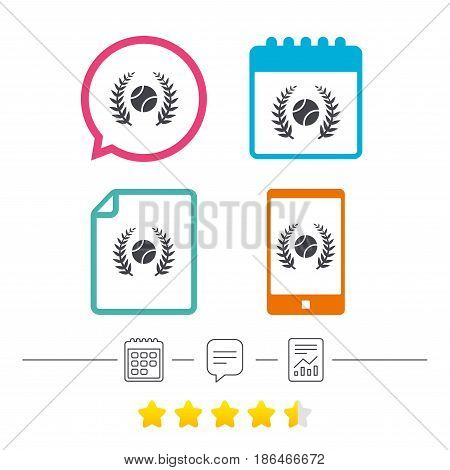 Tennis ball sign icon. Sport laurel wreath symbol. Winner award. Calendar, chat speech bubble and report linear icons. Star vote ranking. Vector