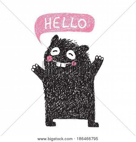 Cartoon fun happy creature for children design. Vector illustration