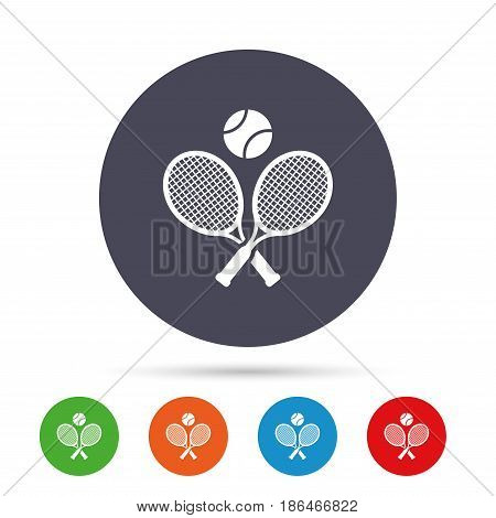 Tennis rackets with ball sign icon. Sport symbol. Round colourful buttons with flat icons. Vector