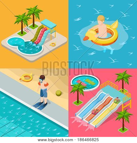 Four square aqua park composition isometric icon set with different situation at the pool on holidays vector illustration